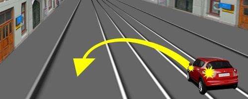 Разворот вне перекрёстка на дороге с трамвайными путями