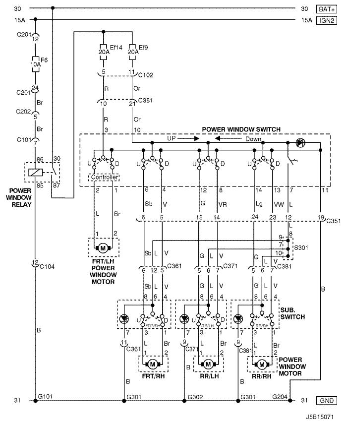 Схема подключения стеклоподъёмников в Шевроле Лачетти